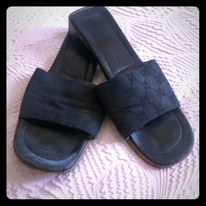 Vintage Gucci slides with wooden bottom